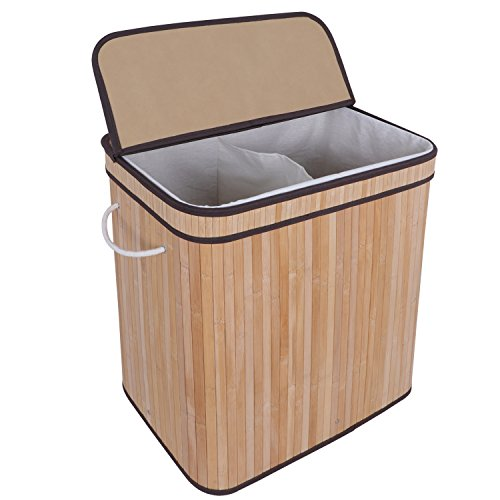 ZENSTYLE Foldable Divided Laundry Hamper, Two-Section Double Laundry Basket w/Lid Handles and Removable Liner, Rectangular Dirty Clothes Storage Sorter (Natural)