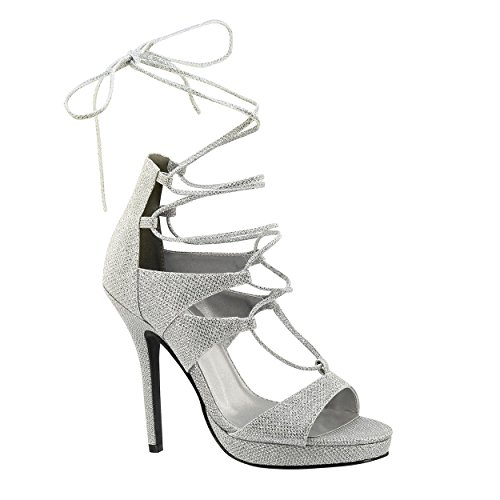 "XINJING-S Silver Frauen Prom Hochzeit Brautjungfer Bridal Plattform Lace Up4"" Sandale Schuh, 7,5"