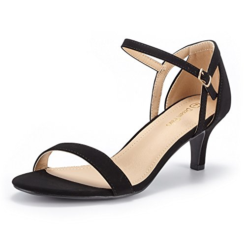 (DREAM PAIRS Women's LEXII Black Nubuck Fashion Stilettos Open Toe Pump Heel Sandals Size 7 B(M) US)