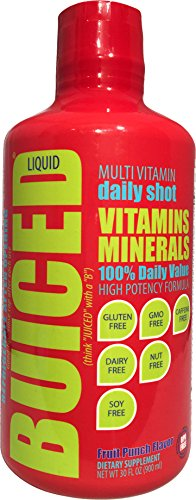 BUICED Liquid Multivitamin Fruit Punch, Gluten Free, GMO Free, Allergen Free, Soy Free, BPA Free. (Fruit Liquid Stuff Punch)