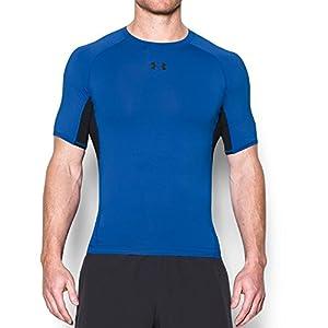 Under Armour Men's HeatGear Armour Short Sleeve Compression Shirt, Blue Marker /Black, Large