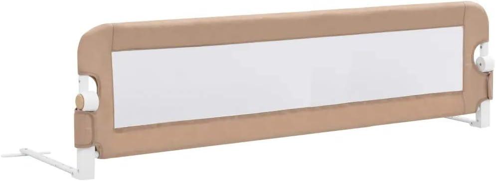 Barrera de cama extralarga,Barandilla Plegable de La Cama Infantil 150x42 cm, seguridad anticaidas niños,Gris topo