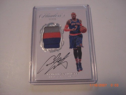 Carmelo Anthony 2016-17 Flawless 3-color Game Used Jersey Auto 17/25 Signed Card - Basketball Autographed Game Used Cards (Carmelo Anthony Autographed Basketball)