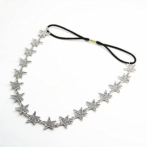 JoJo&Lin Crystal Star Gold/Silver Tone Hairband Head Chain Hair Accessories Jewelry (Silver Tone)