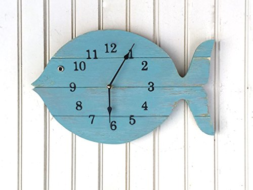 Painted-Fish-Clock-16-wide-wall-clock-lake-house-decor-clock-beach-house-clock-Nautical-Theme-Beach-Cottage-or-Coastal-Decor