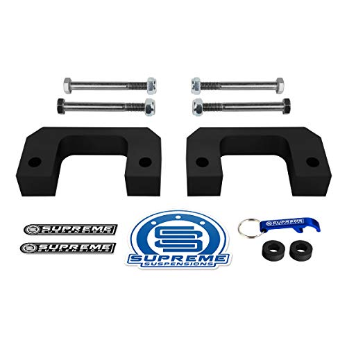 "Supreme Suspensions - Front Leveling Kit for 2007-2019 Chevrolet Silverado 1500 and GMC Sierra 1500 [6-Lug] 2"" Front Lift High-Density Delrin Bottom Strut Spacers 2WD 4WD"