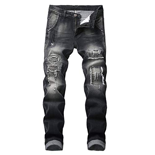 ns Hip hop Rock Designer Clothes Jean Homme Brand Distressed Ripped Denim Biker Jeans Masculino,w2211,34 ()