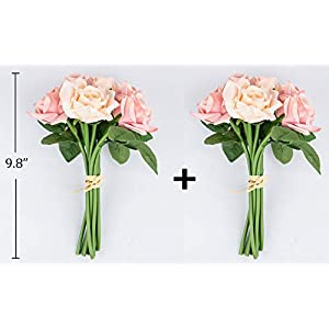 Foraineam 2-Pack Rose Fake Flowers 9 Heads Bridal Wedding Bouquets Silk Artificial Roses Flowers 4