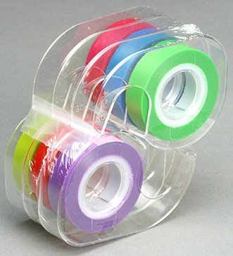 Removable 1 Roll (Lee Removable Highlighter Tape, 1 Roll of Each of 6 Standard Colors, 1/2-Inch Wide x 720-Inch Long, With Dispenser (13888))
