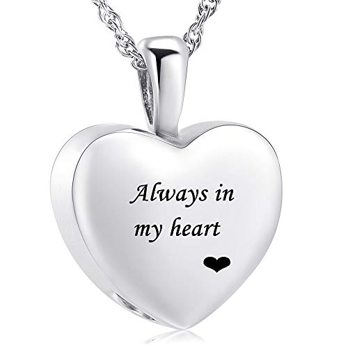 Cremation Jewelry for Ashes Holder - Heart Locket Pendant Necklace Jewelry - Keepsake Funeral Urns Memorial Gift for Women/Men, Free 20 Inch Chain+Fill Kit