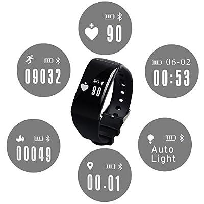 "Jeemak 0.66"" OLED HR+ Regular Fit Activity Tracker Sleep monitor Anti-lost remote control smart bracelet wrist Remind Smart Sports Step Record Multi-function Light Wristband"