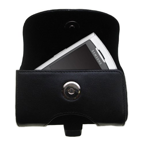 (Belt Mounted Leather Case Custom Designed for the Samsung SPH-M520 - Black Color with Removable Clip by Gomadic )