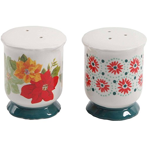 (The Pioneer Woman Poinsettia Salt and Pepper Shaker Set Footed Stoneware)