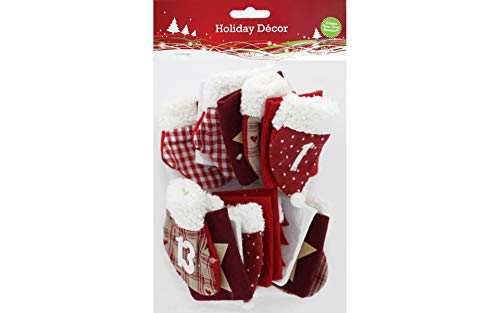 Sierra Pacific Crafts SPC Advent Numbered Bag Hat StockingRed/Wht 24pc
