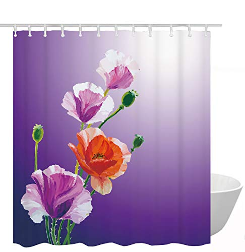 Get Orange Flowers Shower Curtain Oil Painting Purple Orange Poppies Flowers Waterproof Fabric Polyester Shower Curtain Set with Hooks72 X 72 Inches