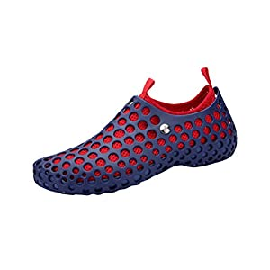 T&Mates Unisex Lightweight Breathable Quick Drying Mesh Hole Sandals Water Shoes (7.5 B(M)US,Blue Red)