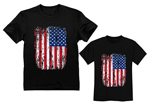 4th of July Vintage USA Flag Patriotic Shirts Father & Child Matching Set Outfit Dad Black Medium/Toddler Black 2T