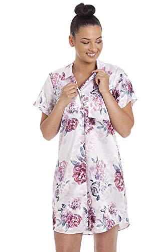 Camille Womens Floral Printed Satin Nightshirts 8 Rose Floral Multi-Coloured