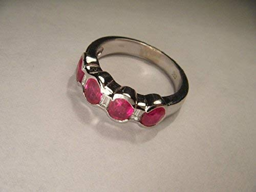 (Stunning Estate 14K White Gold Ruby Rubies 4-Stone Four-Stone Diamond Ring Band)