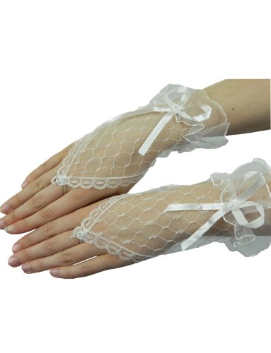 Yummy Bee Womens Lace Short Fingerless Costume Gloves Party White (Classic Burlesque Costumes)