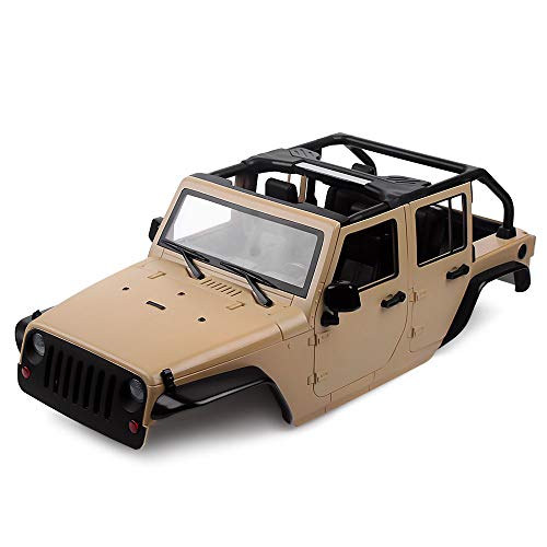 INJORA Unassembled Kit 313mm Wheelbase Convertible Open Car Jeep Wrangler Body Shell for 1/10 RC Crawler Axial SCX10 90046 (Khaki)