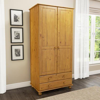 Hamilton 2 Door 2 Drawer Wardrobe in Pine