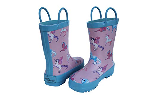 Foxfire for Kids Pink and Blue Rubber Boots with Unicorn Pattern Size 1 by Foxfire for Kids (Image #2)