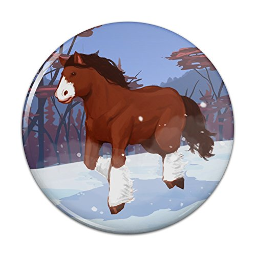 Clydesdale Horse Running in Snow Pinback Button Pin Badge - 1