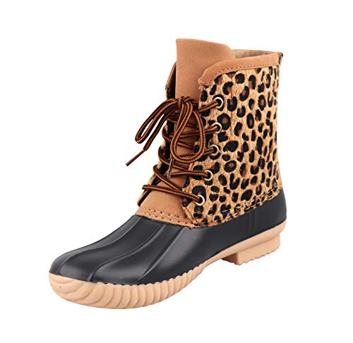 THOVSMOON Leopard Women's Personalized Lace-Up Duck Boots Snow Boots rain Shoes Waterproof Duck Boots Can Be Monogrammed (9, Black-Leopard)