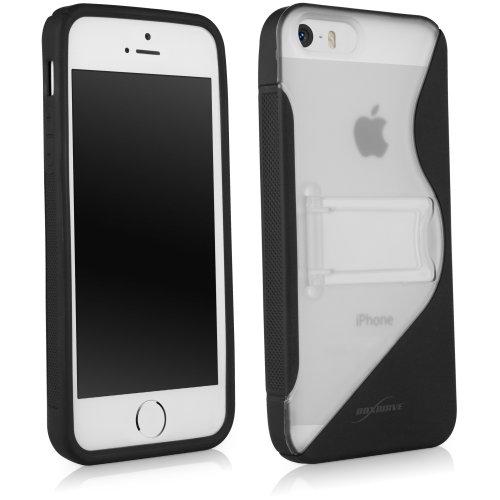 """BoxWave Coloursplash Apple iPhone 5s Case mit Ständer - langlebig, Schutzhülle aus TPU mit einklappbarem Ständer, mit farbigem """"S"""" auf der Rückseite Dual Apple iPhone 5s - Hüllen (Schwarz)"""
