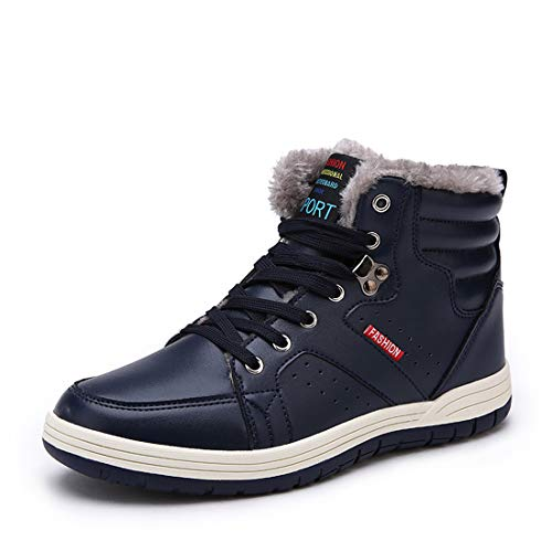 Ceyue Snow Boots for Men Leather Ankle Boots Lace Up High Top Outdoor Boots Winter Warm Walking Shoes with Fur Lining