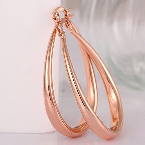 Xiaodou arete ovalados de lágrima para mujeres y niñas, oro de 14 K y oro rosa, aros hipoalergénicos, Rosa, 1
