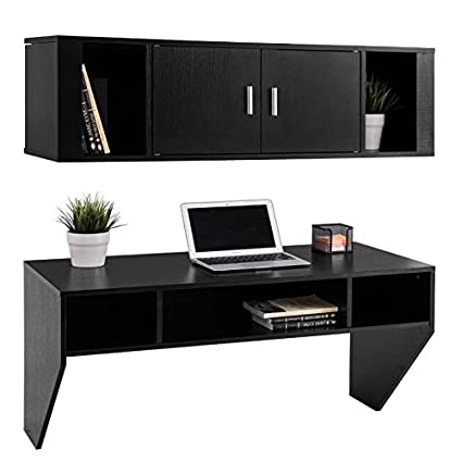 Wall Mounted Floating Storage Cabinet Computer Table Hanging Desk Hutch Set Laptop Notebook Study Writing Reading