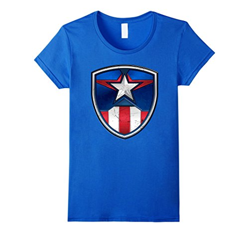 Captain Marvel Female Costume - Womens Marvel Captain America Armor Suit Graphic T-Shirt Large Royal Blue