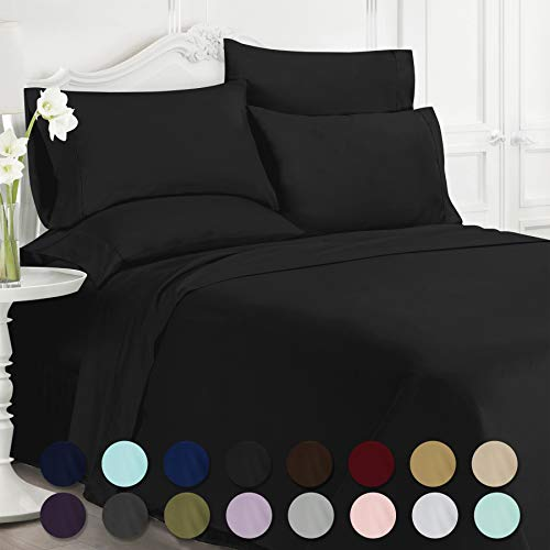 4 Bonus Set - Swift Home Premiere 1800 Collection Brushed Microfiber - 4 Piece Sheet Set(Includes 1 Bonus Pillowcase), Twin, Black