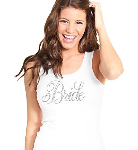 Bridal Shower Bride White Shirt - Flirty BRIDE Rhinestone Tank Top - Bridal Shower Supplies - Small - White Tank(FlrtBrd RS) Wht/Sml ()
