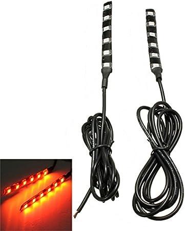 Amber LED Turn Signal Light Strip 2 PCS 6LED 5050 SMD Motorcycle LED Strip Turn Signal Indicator Blinker Light