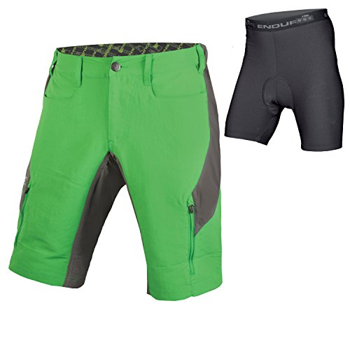 (Endura SingleTrack III Baggy Cycling Short with Liner Kelly Green, X-Large)