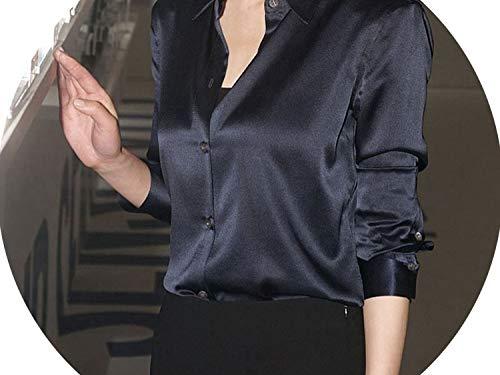 better-caress 2019 Spring OL Satin Shirts Women Turn Down Collar Women 2245 50,Black,XXL - Caress Satin Neck