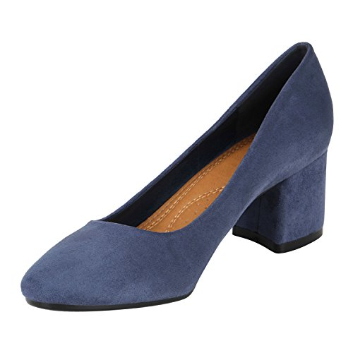 Stiefelparadies Klassische Damen Pumps Lack High Heels Elegante Party Schuhe Strass Blockabsatz Glitzer Damenschuhe Wildleder-Optik Flandell Blau Velours Autol