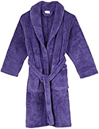 Girls Robe, Kids Plush Shawl Fleece Bathrobe, Made In Turkey