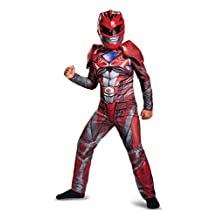 Disguise Costumes Ranger Movie Classic Muscle Costume, Red, Medium (7-8)