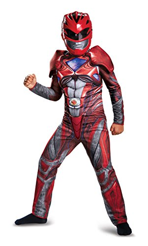 Disguise Power Ranger Movie Classic Muscle Costume, Red,