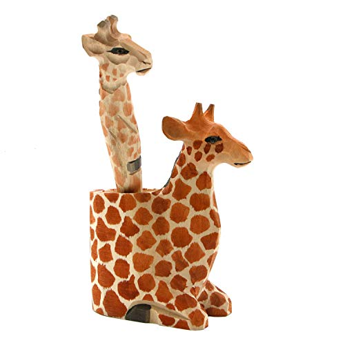 JETEHO Set of 2 Wood Carving Animal Stationery Including Giraffe Pen Holder and Giraffe Pen ()