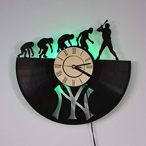 NEW YORK YANKEES GREEN LED Backlight Vinyl Wall Clock Night Atmosphere Light Lamp Creative Classic Cool Living Room Interior Decor Led Time Clock With Color Red Light