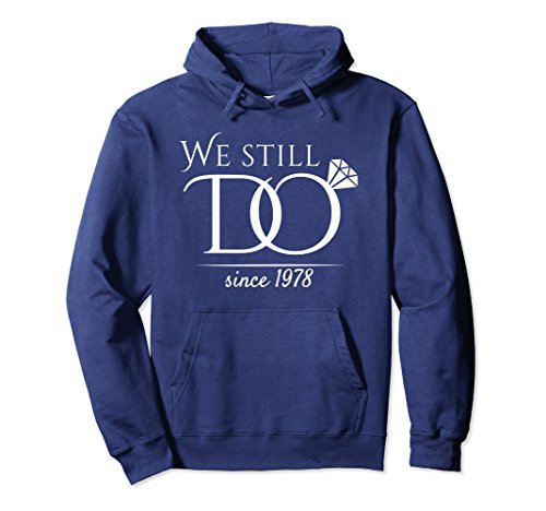 Unisex 40th Wedding Anniversary Hoodie For Married In 1978 W Large Navy