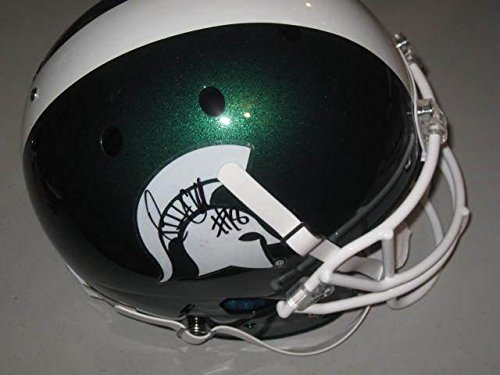 Connor-Cook-Michigan-State-Spartans-Signed-Black-Matte-Football-Helmet-Rose-COA-Autographed-College-Helmets