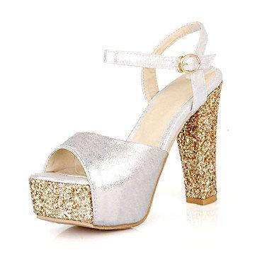 LFNLYX Sandalias mujer Primavera Verano Otoño Otros Charol Glitter Party & Noche Casual Chunky talón Sequin hebilla plata oro rojo Silver