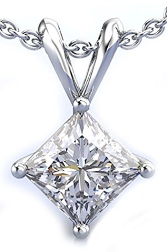 RINGJEWEL 2.11 ct VVS1 Silver Plated Princess Solitaire Real Moissanite White H-I Pendant