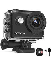 Gookam 4K Sportcamera 60 FPS WiFi 20 MP EIS anti-shake 40 m waterdichte sportcamera Ultra HD 170 ° groothoek met 2,4 G afstandsbediening 2 oplaadbare batterijen 1350 mAh en accessoireset
